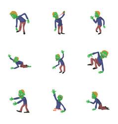 zombie style icons set cartoon style vector image