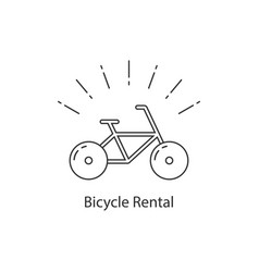 bicycle rental with thin line bike vector image vector image
