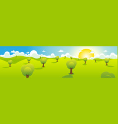 cartoon spring or summer landscape header vector image vector image