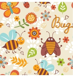 Cute bugs pattern vector image vector image
