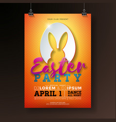 easter party flyer with rabbit vector image