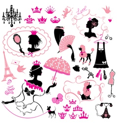 Fairytale Set - silhouettes of princess girls vector image vector image