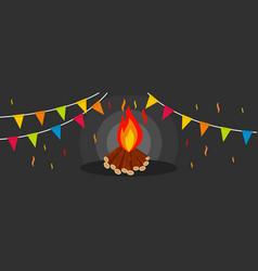 lohri bonfire banner flat style vector image