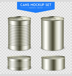 realistic cylindrical cans mockup set vector image vector image