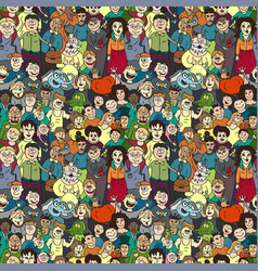 seamless pattern of happy laughing people vector image