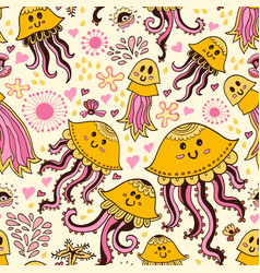seamless pattern with cute jellyfishes vector image vector image