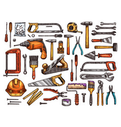 tool for construction and repair work sketch vector image vector image