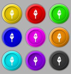Torch icon sign symbol on nine round colourful vector image