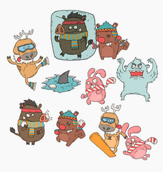 winter animals cartoon set vector image vector image