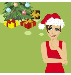 Young woman in santa hat thinking about gifts vector