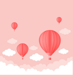 Balloon in the sky with clouds pink color flat vector