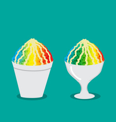 hawaiian shave ice with rainbow color vector image