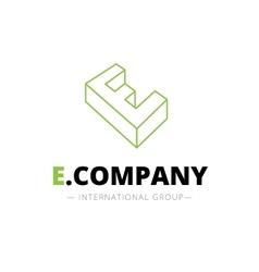 isometric line style E letter logo Company vector image