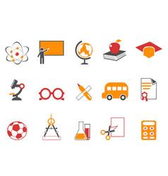 orange education icons set vector image vector image