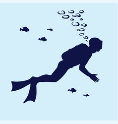silhouette of scuba diver swimming in the water vector image vector image
