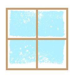 winter snowy window vector image vector image