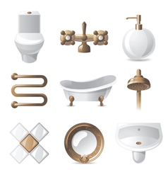 9 vintage styled bathroom icons vector image vector image