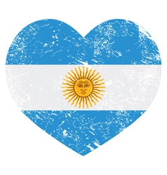 Argentina retro heart shaped flag vector image vector image