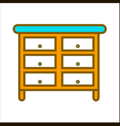 cartoon commode with lot of drawers isolated vector image vector image