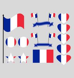 france flag set collection of symbols flag vector image