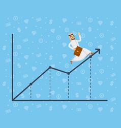 Arabian businessman running along growth graph vector
