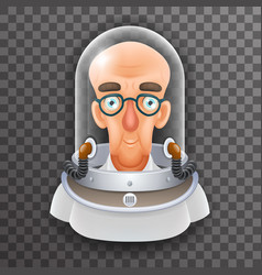 bald scientist avatar retro realistic helmet 3d vector image