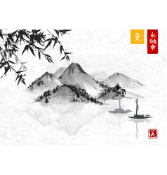 bamboo fishing boat and island with mountains vector image