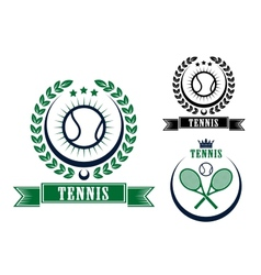 Tennis sports emblems or badges vector image vector image