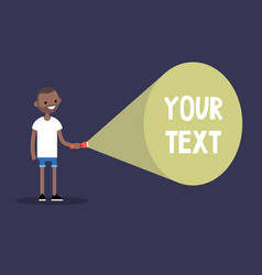 young black man holding a flashlight your text vector image