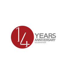 14 years anniversary logotype design with big red vector