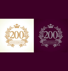 200 anniversary luxury logo vector