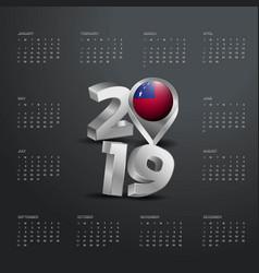 2019 calendar template grey typography with samoa vector