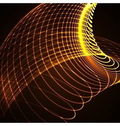 3D illuminated curved lines vector