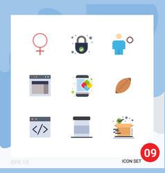 9 universal flat color signs symbols website vector