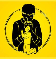 A man prayer cartoon graphic vector