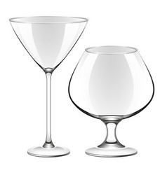 a martini glass and a glass for cognac vector image