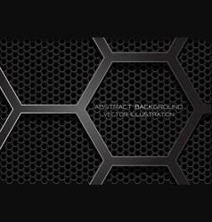Abstract dark grey hexagon overlap on mesh vector