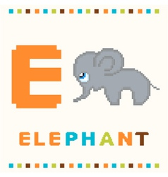 alphabet for children letter e and an elephant vector image