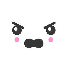 Angry kawaii cute emotion face emoticon vector