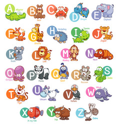 Animal english alphabet vector