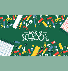 back to school card cartoon children supplies icon vector image