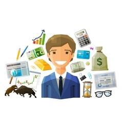 bank stock exchange business logo design vector image
