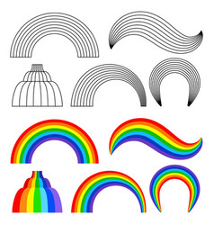 black and colored rainbows set vector image