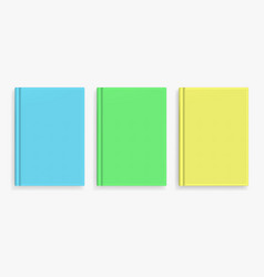 Blank colorful realistic book cover mockups vector