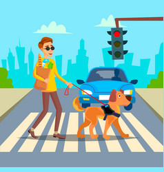 Blind man young person with pet dog vector