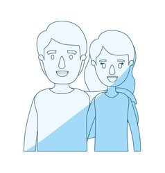 Blue silhouette shading caricature half body vector