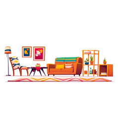 Boho bohemian living room interior hipster style vector