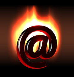 Burning in bright flames email symbol vector image
