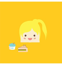 Cartoon doodle girl rectangle like cake vector