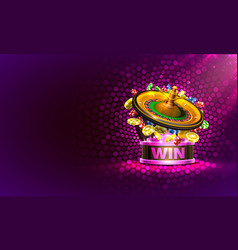 Casino banner roulette big win coins background vector